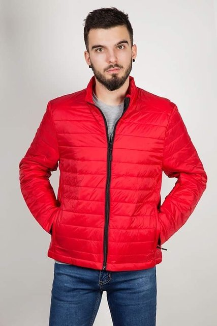 Kurtka męska, przejściowa, czerwona, pikowana, model 8001.
