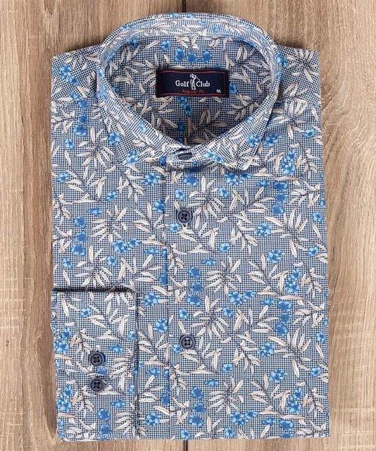 Męska koszula w kwiaty, wzorzysta z długim rękawem.
