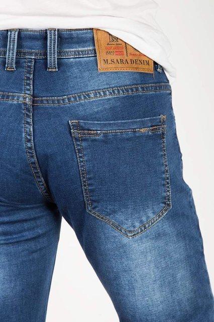 Męskie spodnie jeansowe 2139 z paskiem, klasyczne, niebieskie, regular fit.