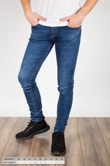 Męskie spodnie jeansowe, 622-1, slim fit