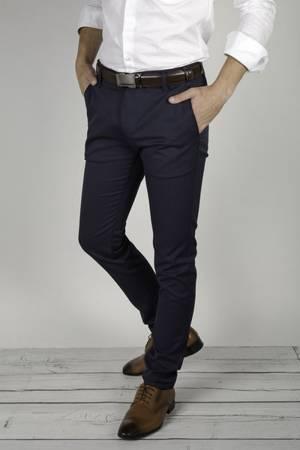 Spodnie męskie typu chino 7670 granatowe - dla wysokich