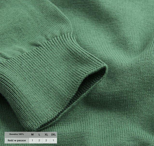 Sweter męski klasyczny Laid-Back - zielony